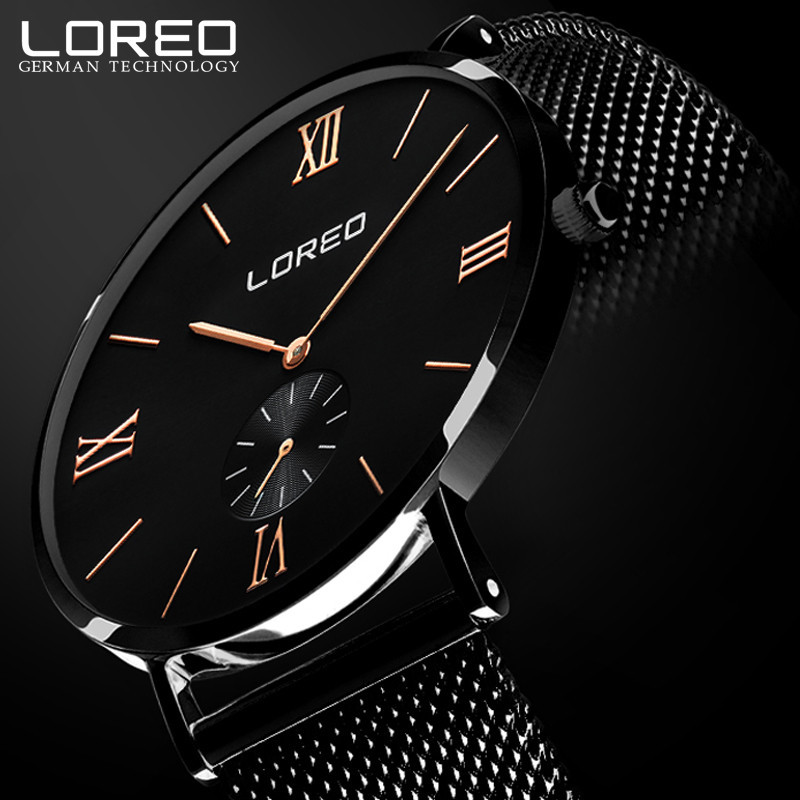 LOREO Top Luxury Watch Men Brand Mens Watches Ultra Thin Stainless Steel Mesh Band Quartz Wristwatch Fashion casual watches M22<br>