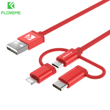 FLOVEME New 3 in 1 Triple Cable for Apple +Type-C+Micro USB Cable Mobile Phone Charging Cable for Android iPhone iPad Smartphone