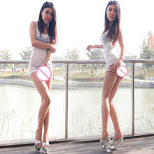 New Sexy Transparent Low Cut Backless MINI Dress Ice Silk Dress See Through Sexy Nightclubs Clothing Club Dance Dress F28