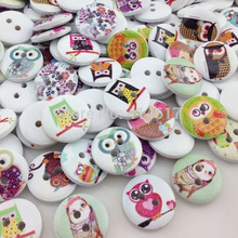 50pcs Mix Baby Owl Birds Carton Buttons Kid' Baby Sewing Craft Lots 15mm WB306