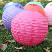 2017 New wholesale Retail 1 Pcs Chinese Round Paper Lantern Birthday Wedding Decoration Party decor Gift craft DIY More Colors