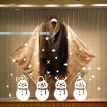 % Christmas new snowman snow shop window decoration glass paste creative wall stickerschildren room living room kitchen bathroom(China)