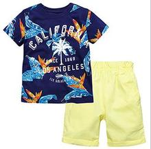 Little Maven New Summer Brand Children Cool Tropic Palm Letters O-neck  Quality Cotton Knitted Boys Casual Short Tshirt Sets