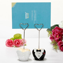 100sets/lot Wedding party decorations heart shape Formal Gown Table Clip Bride and Groom Place name Card Holder
