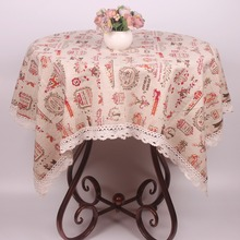 New Beige Cotton Linen Merry Christmas Tablecloth Decoration / Lace Christmas Table Cover Cloth for Square Rectangular Tables