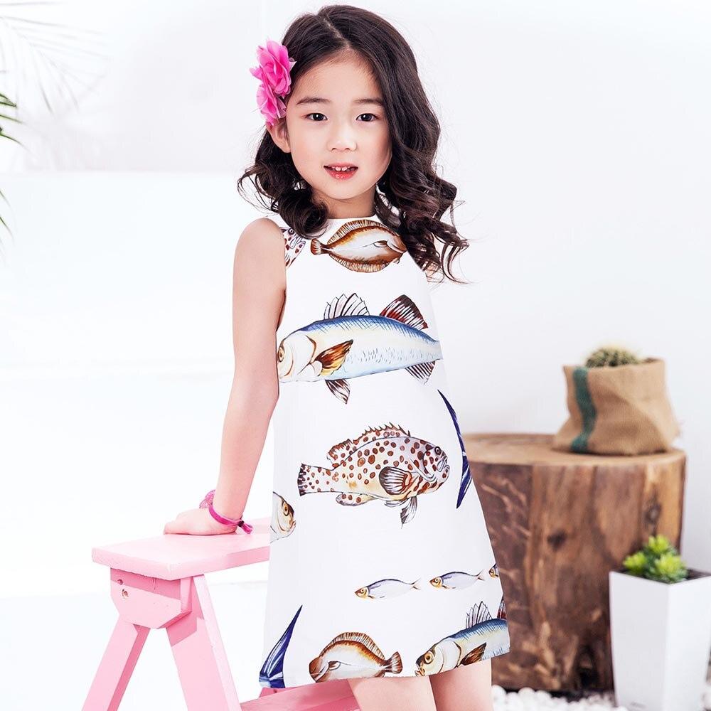 Princess Dress 2017 Brand Summer Girls Party Dress Children Fish Printed Dresses Kids Clothes Vestido Princesa 3-12Y<br>