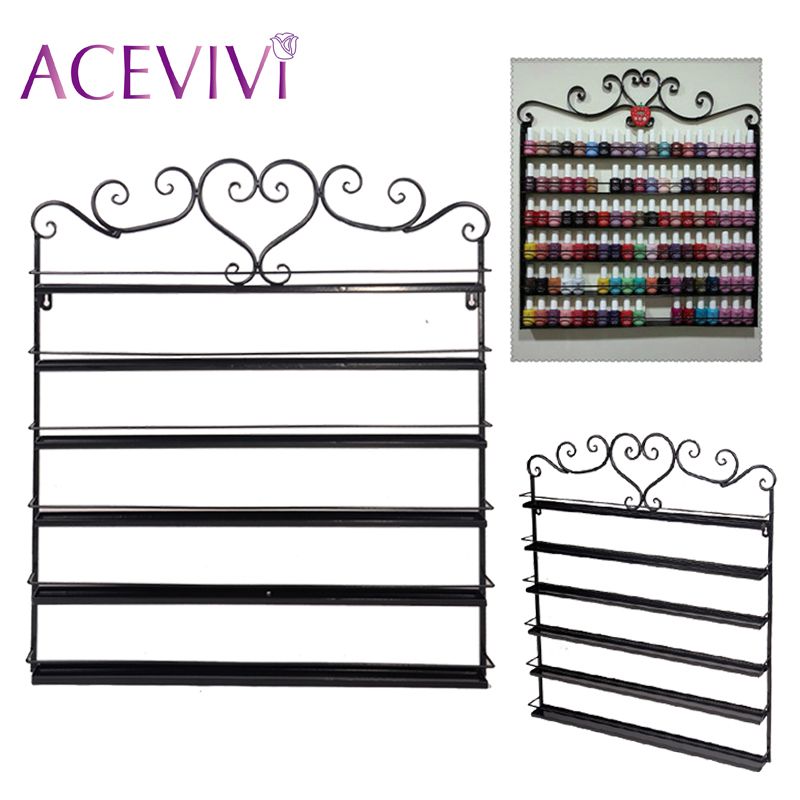 ACEVIVI Heart Metal Nail Polish Display Wall Rack Fit Up To 108 Bottles Organizer Storage Display Holder Storage Shelf <br>