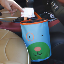 Car Trash Can Bin Garbage Cartoon Black Seat Organizer Bags Waterproof Travel Storage Hanging Bag Stowing Tidying Waste Bins