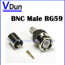 100pcs/lot BNC male crimp plug for RG59 coaxial cable, RG59 BNC Connector BNC male 3-piece crimp connector plugs RG59  VD-CA31