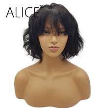 ALICE Lace Wig 130 Density Braizlian Remy Short Human Hair Lace Front Wigs Black Women With Bangs 8-14 Inches Natural color(China)
