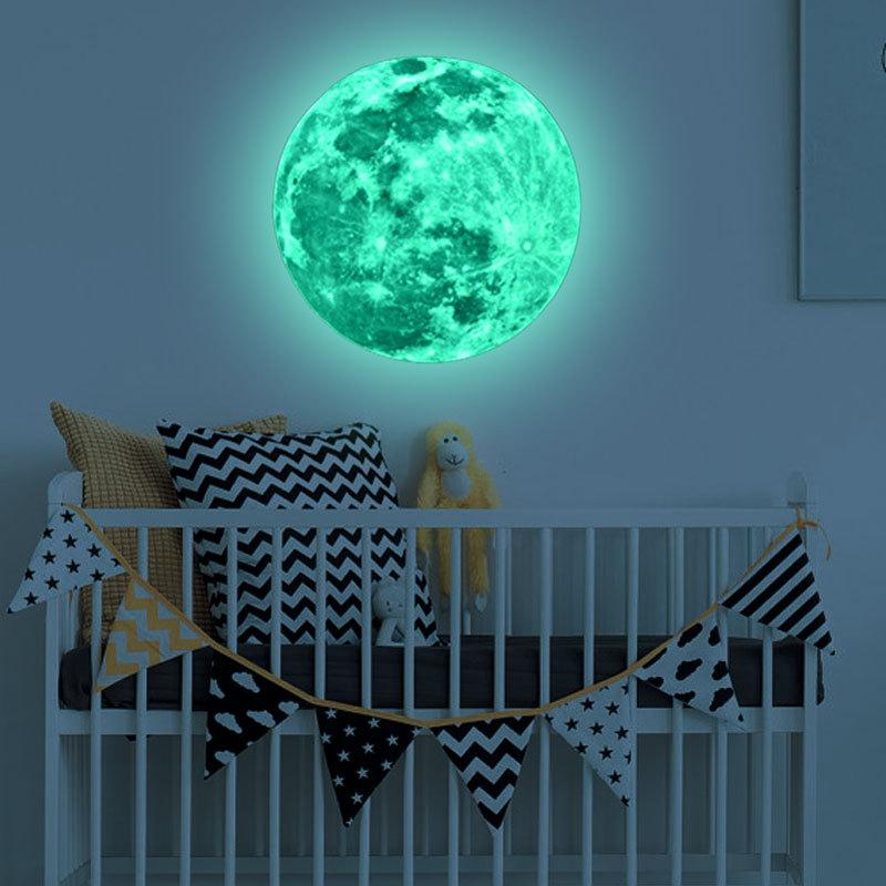 HTB1LseDSpXXXXXeXpXXq6xXFXXXu - Super Luminous moon wallpaper luminous wall stickers luminous waterproof stickers children bedroom bedroom decoration mural
