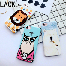 LACK Cute Cartoon Grumpy Cat Case For iphone 7 Lovely Animal Lion and White Bear frosted Back Cover For iphone 7 Plus Fundas(China)