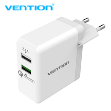 Vention Quick Charger 3.0 2 port USB Charger EU Plug White Mobile Phone Charger For XiaoMi HTC Google QC3.0 Fast Wall Charger(China)