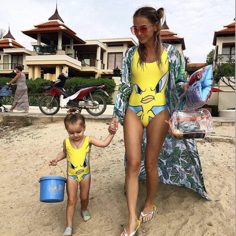 Cartoon Kids Girls Swimwear Women One Piece Swimsuit Push Up Thong Bikini Micro Bathing Suit Women Swimsuits S-XL