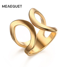 Buy Meaeguet 19mm Trendy Jewelry Women Stainless Steel Party Rings Open Cuff Cross X Statement Finger Ring Bijoux Femme for $4.49 in AliExpress store