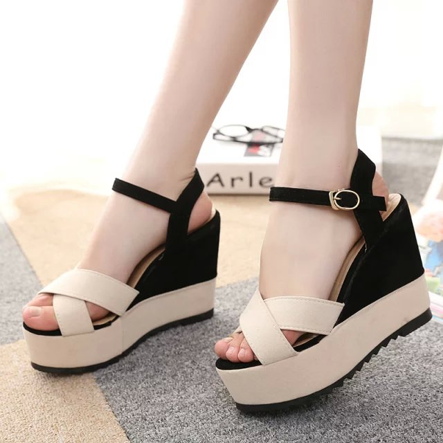 Leisure women shoes wedge high heel slope sandals open toe summer slip on party sandals waterproof platform slipper<br><br>Aliexpress