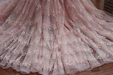 "120cm 47.24"" *1Y Off White Pink Floral Lace Fabric Cotton Embroidery Tulle Dress Bridal Wedding Fabric(China)"