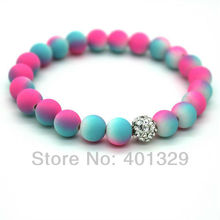 Free Shipping! 2015 Fashion Jewelry Women's Bracelet 8mm Colorful Fluorescent Neon pink and blue Beads
