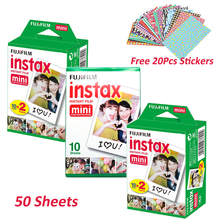 50 Sheets Fujifilm Instax Mini 8 White Film for Fuji Instant Mini 7s 25 50s NEO Classic instax Photo Camera +Free 20Pcs Stickers(Hong Kong)