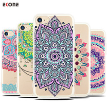 EKONE Silicone Phone Case For iPhone 5S Case 6 6S 6Plus 7 7Plus 8 Plus Mandala Henna For iPhone 6S Case iPhone 7 Plus Back Cover