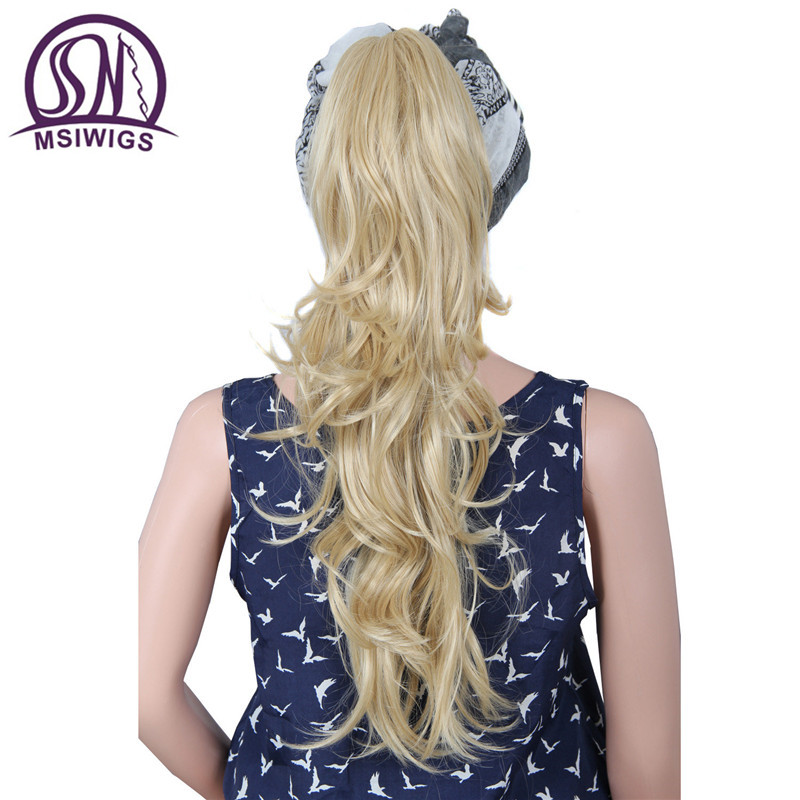 MSIWIGS Natural Wave Long Blonde Ponytails Hairpieces Heat Resistant Claw Clip Synthetic Hair Extensions Ponytails Women