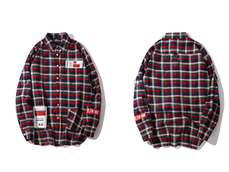 Plaid Patchwork Long Sleeve Shirts 1