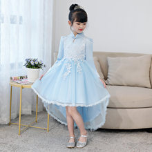 Trailing Long Sleeves Princess Flower Girls Dresses 5-10 Years Children  Clothes Autumn Kids Evening 6dec28525871