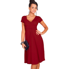 Women Dresses Summer Casual New Fashion Hot Sale V-neck Short Sleeve Party Dresses Size S M L XL XXL XXXL Plus Size