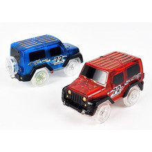 Hot Sale! Electronics Car With Flashing Lights for Magic Racing Glows Track Set Educational Toys For Children Boys Birthday Gift(China)