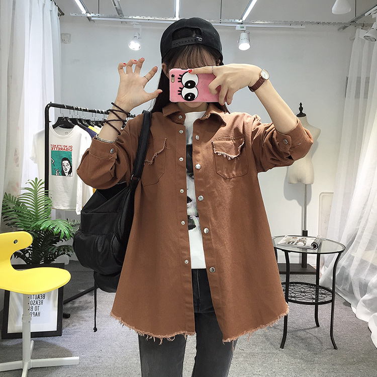 2018 Spring Autumn New Long Section Lapel Tassel Denim Jackets Women Loose Casual Long Sleeve Female\'S Thin Basic Jacket Coats (29)