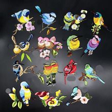 Birds Patch Embroidery Iron On Patches For Clothes Dresses DIY Accessory(China)