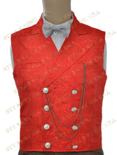 Free Shipping  Halloween Costume Floral Jacquard Double Breasted Victorian Steampunk Waistcoat