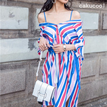 Cakucool Design Women Casual Loose Summer Dress Blue Striped Vintage Vestidos Two sides wear Off shoulder Short Sleeve Dresses