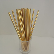25Pcs Disposable Pure Color Bronzing Gold Silver Creative Wedding Supplies Birthday Event Party Decorating Beverage Paper Straw