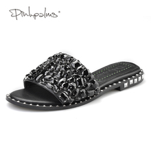 Pink Palms Summer Shoes Crystal Slides Shoes Women Flip Flops Flat With Casual Shoes Black Diamond Rhinestone Slippers