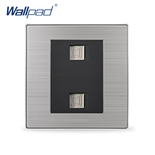 2017 Hot Sale Double Telephone Socket Wallpad Luxury TEL Wall Power Socket Outlet Black / Champagne AC 110-250V(China)