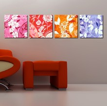 4 Panel  Hot Sell Modern Wall Painting Home Decorative Art Picture Paint on Canvas Prints Daffodil, orchid, lily and rose