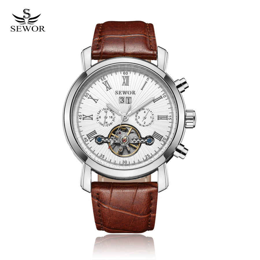 SEWOR New 2017 Men Full-automatic Mechanical Watch Tourbillon Luxury Fashion Brand Genuine Leather Man Multifunctional Watches<br>