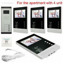 "For 4 Apartments Wired Intercom For Private House With 4 Units 4.3"" Indoor Monitors Video Call 4 Buttons CCD Camera 700TVL"
