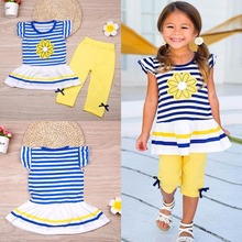 Buy Puseky 2Pcs Children Baby Girls Kids Clothes Sets Flower T-Shirt Tops + Shorts Pants Striped Outfits Summer Clothes 2017 6M-7Y for $4.50 in AliExpress store
