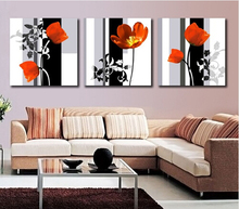 Modern Art High Quality 3 Panel Flower Painting Contemporary Floral Canvas Painting Paint By Number For Living Room Wall Picture