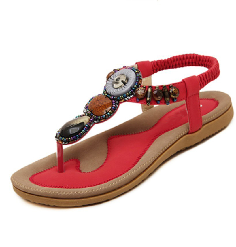 plus size 35-42 black brown pink red brazilian tropical beading thong ethnic elastic band comfort women platform Flat sandals<br><br>Aliexpress