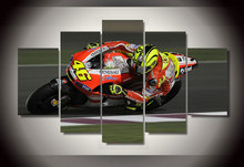 Framed Printed Motorcycle Racing 5 pieces Group Painting room decor print poster picture canvas Free shipping/dd710