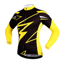 CUSROO 2017 Winter Thermal Fleece jersey cycling clothing Long Sleeve cycling jersey ropa ciclismo yellow lightning  XXS-6XL