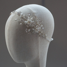 Rhinestone 1920s Bridal Halo Headband Vintage Inspired Stone Wedding Headpiece Bohemian Hair Adornment