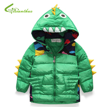 2017 New Winter Keep Warm Jacket Children Cartoon Dinosaur Girls And Boys Thickening  Down Jackets Coat Child Clothes Keep Warm