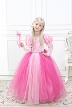 Girls Fancy Party Dress Pink Princess Dress Cosplay Costumes Flower Pattern Ball Gown Bridemaid Dress Halloween Costumes
