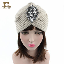 2016 New Fashion Ladies Winter Warm Turban Soft Rhinestone Knit Headband Bling Beanie Crochet Headwrap Women Hat Cap Hairband