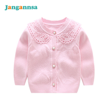 O-Neck Knitted Cotton Baby Girls Sweater Long Sleeve Infant Sweaters Girls Cardigan Coat 2017 Baby Girls Clothing(China)