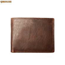 Men Wallets Genuine Leather Small Wallet Zipper Design Purse Card Holder Coins Bag chocolate color